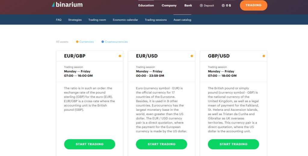 binarium asset catalog after log in